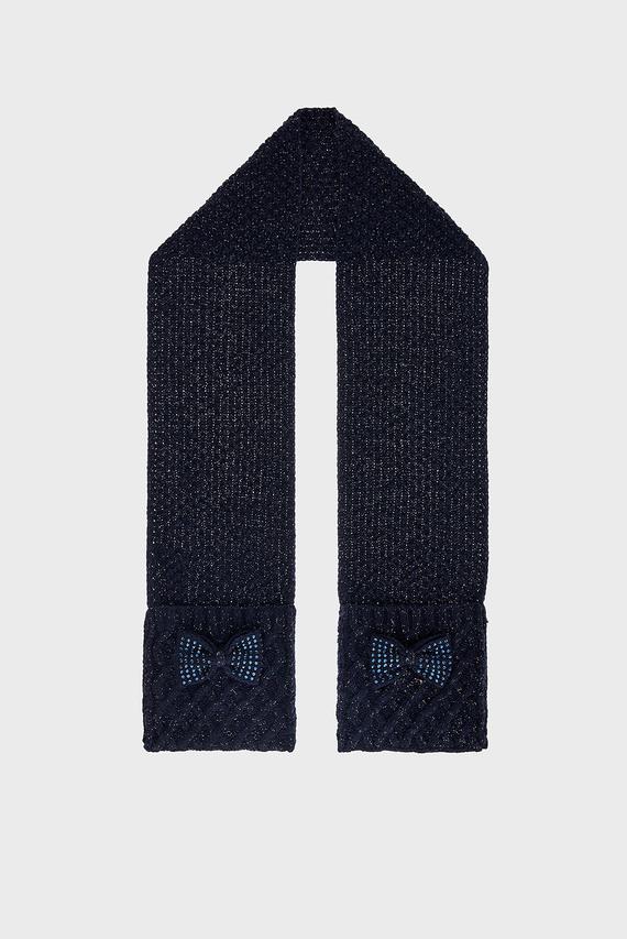 Детский синий шарф OLIVIA BOW SCARF