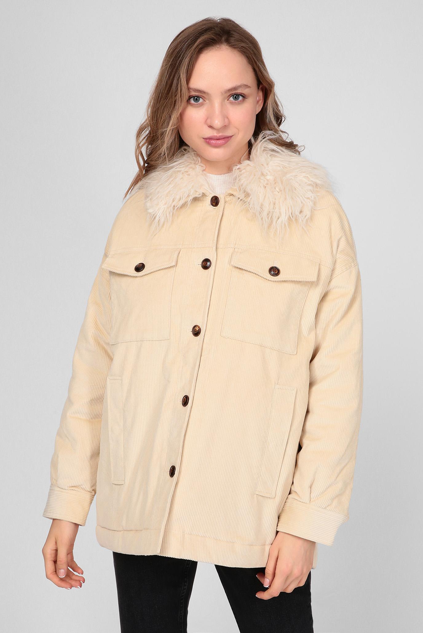 Жіноча бежева вельветова куртка KATY 1
