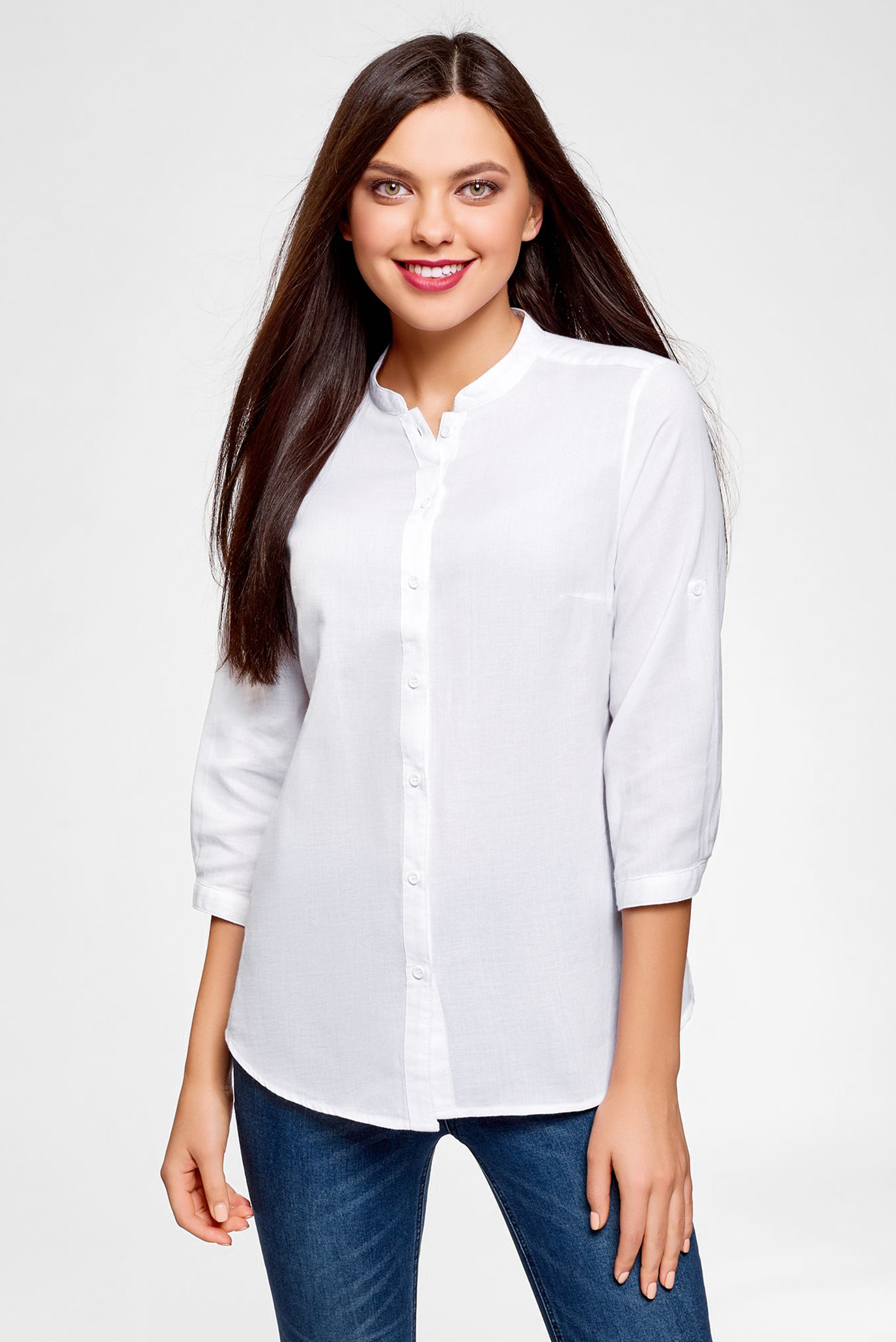 8b6d56e625b04b0 Купить Женская белая рубашка Oodji Oodji 23L12001B/45608/1000N – Киев,  Украина. Цены в интернет магазине MD Fashion
