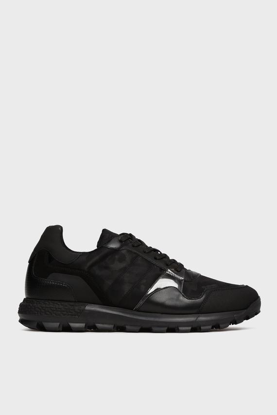 Мужские черные кожаные кроссовки Fernando