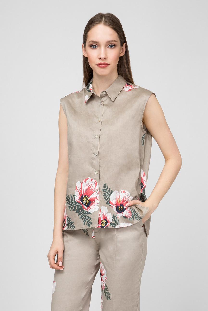 Женская бежевая рубашка с принтомVALENTINA