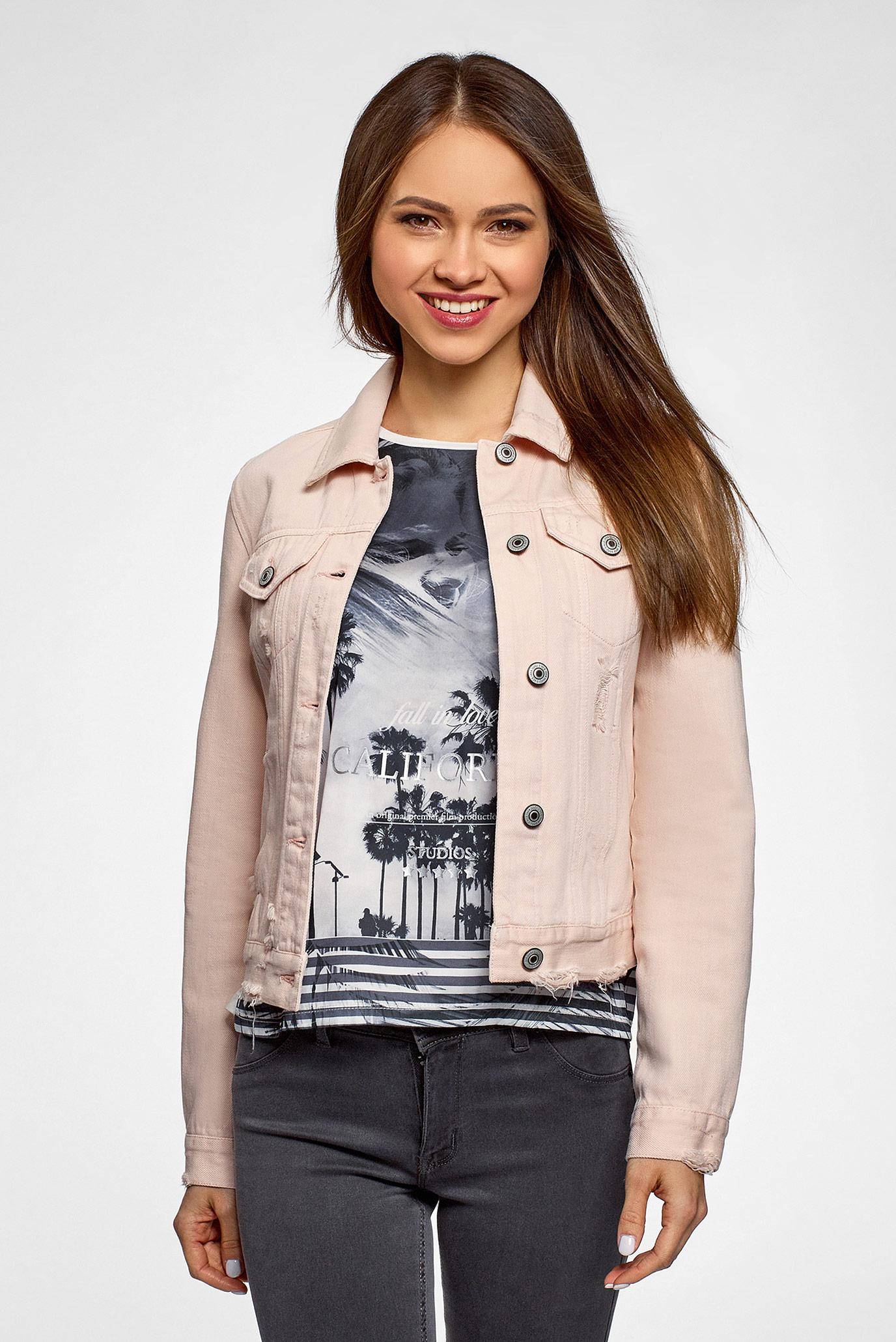 Женская розовая джинсовая куртка 1