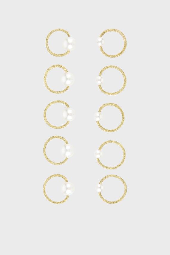 Золотистые резинки для волос (10 шт) MINI PEARL HAIR BAND