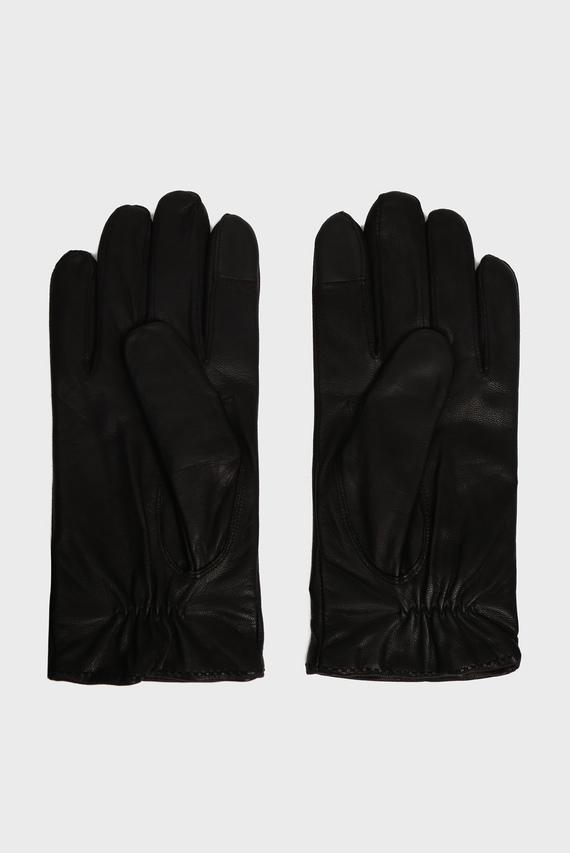 Мужские черные кожаные перчатки FLAG