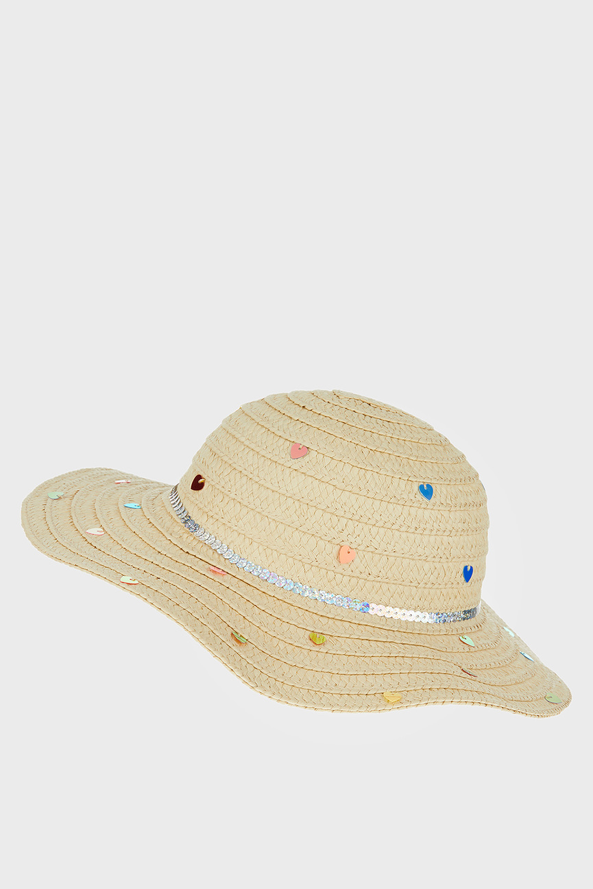 Детская бежевая шляпа MULTI SEQUIN FLOPPY