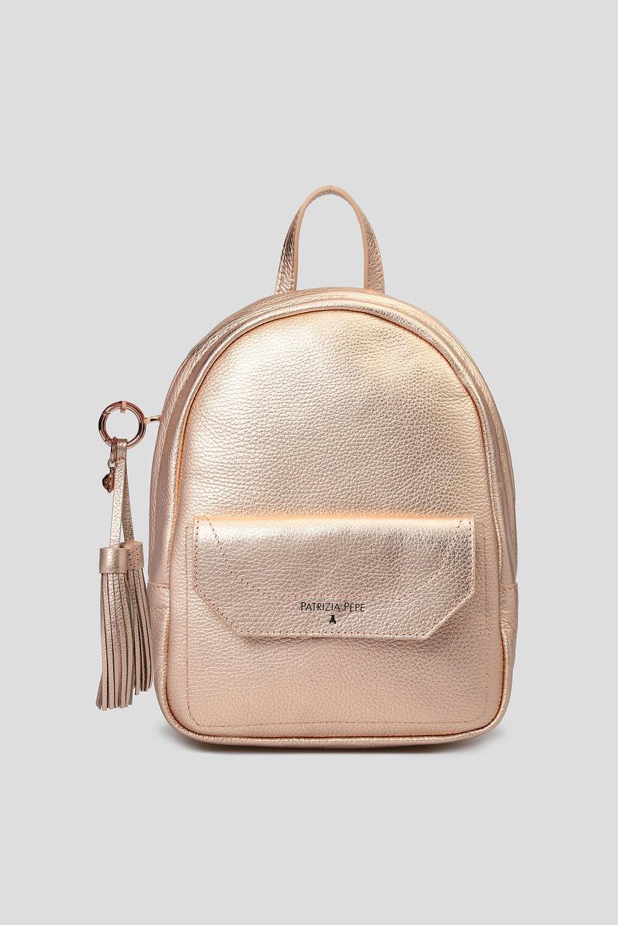 Женский розовый кожаный рюкзак