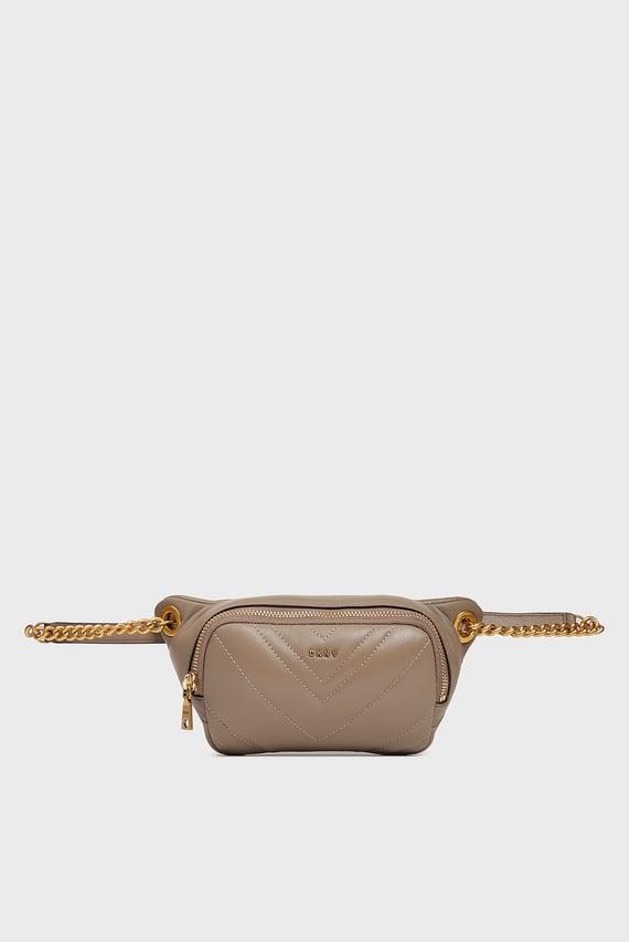 Женская кожаная бежевая поясная сумка Vivian
