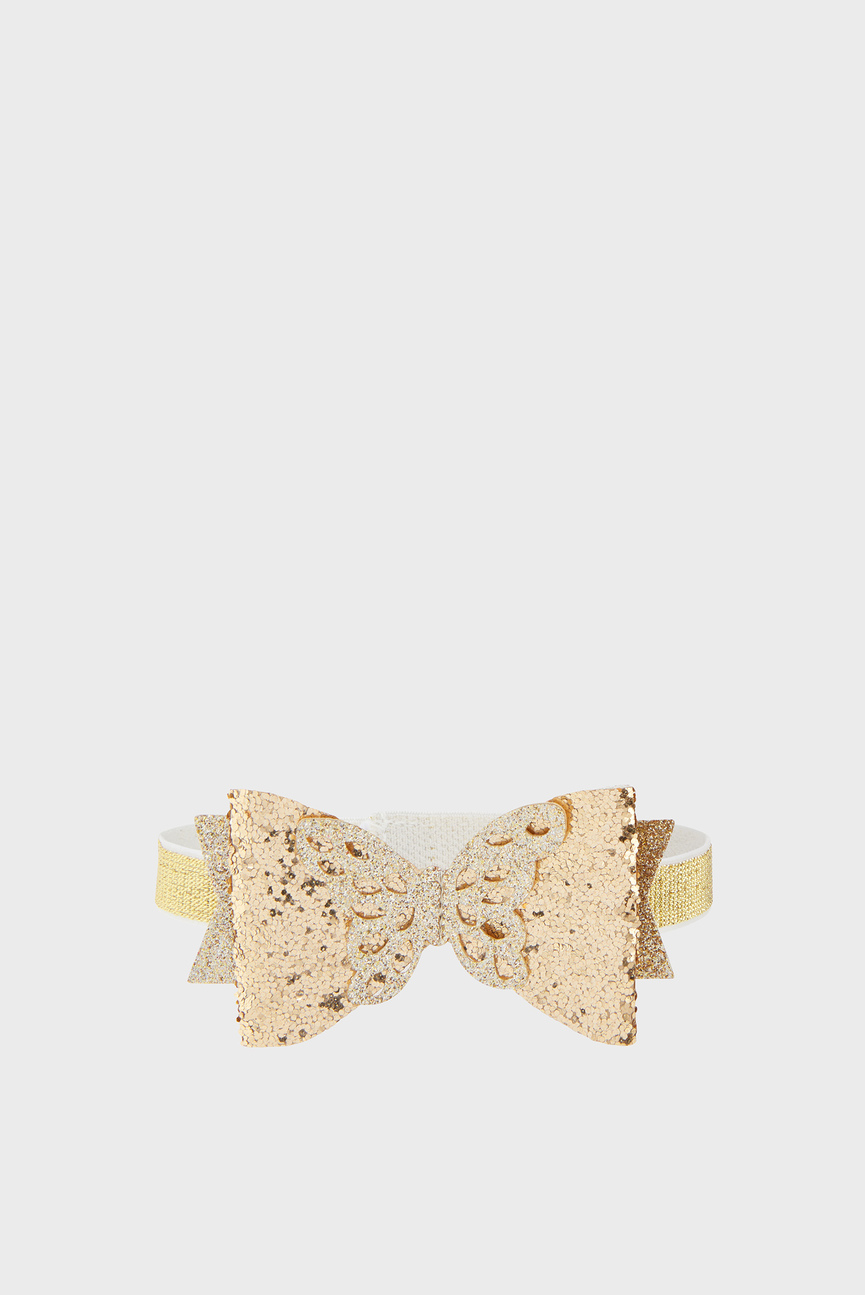 Детская золотистая повязка Baby Glitter Butterfly Bow Bando