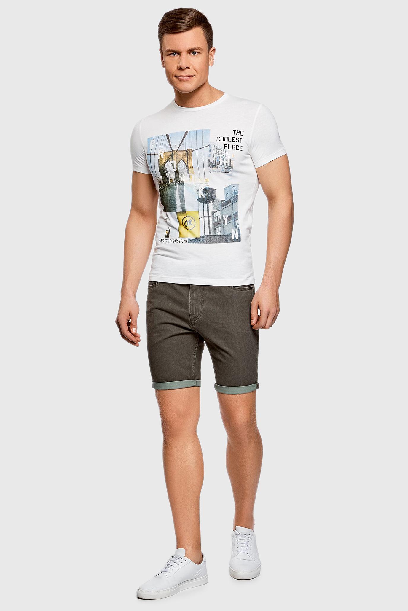 Купить Мужская белая футболка с принтом Oodji Oodji 5L611027I/44135N/1252P – Киев, Украина. Цены в интернет магазине MD Fashion