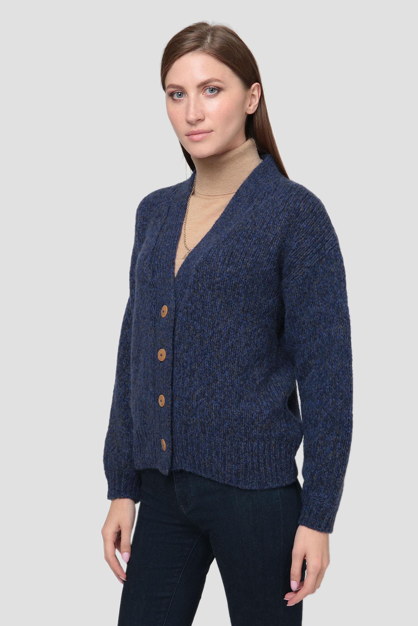 Женский темно-синий шерстяной кардиган MULTI YARN Gant