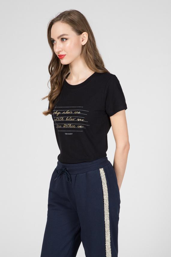Женская черная футболка STRETCH SLIM FIT