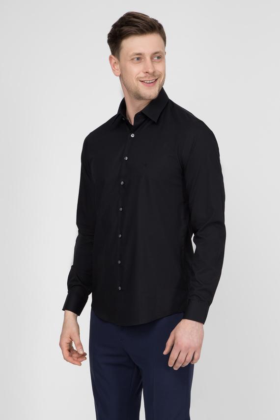 Мужская черная рубашка 2PLY POPLIN STRETCH SLIM