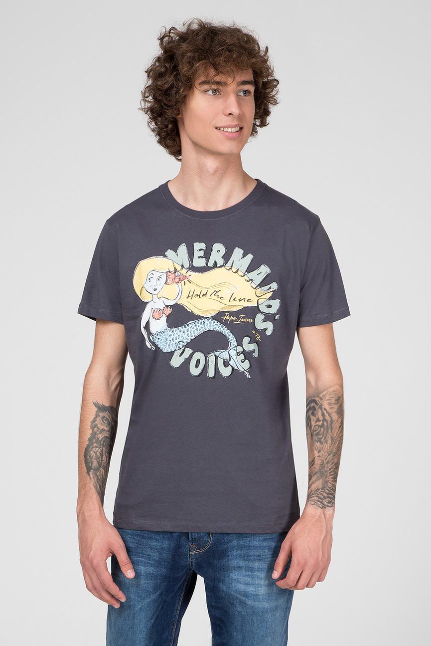 Мужская серая футболка с принтом DALE