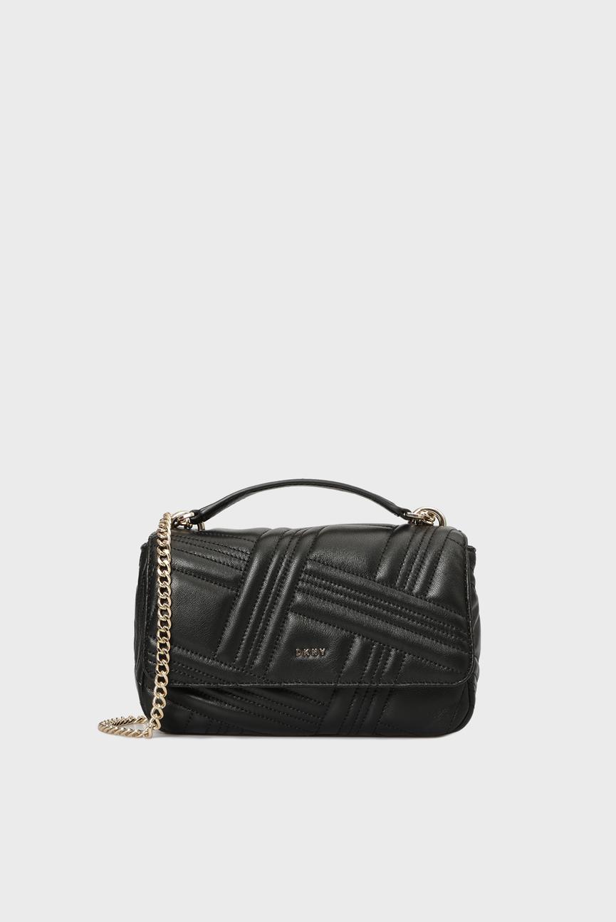 Женская черная кожаная сумка на плечо ALLEN- MD