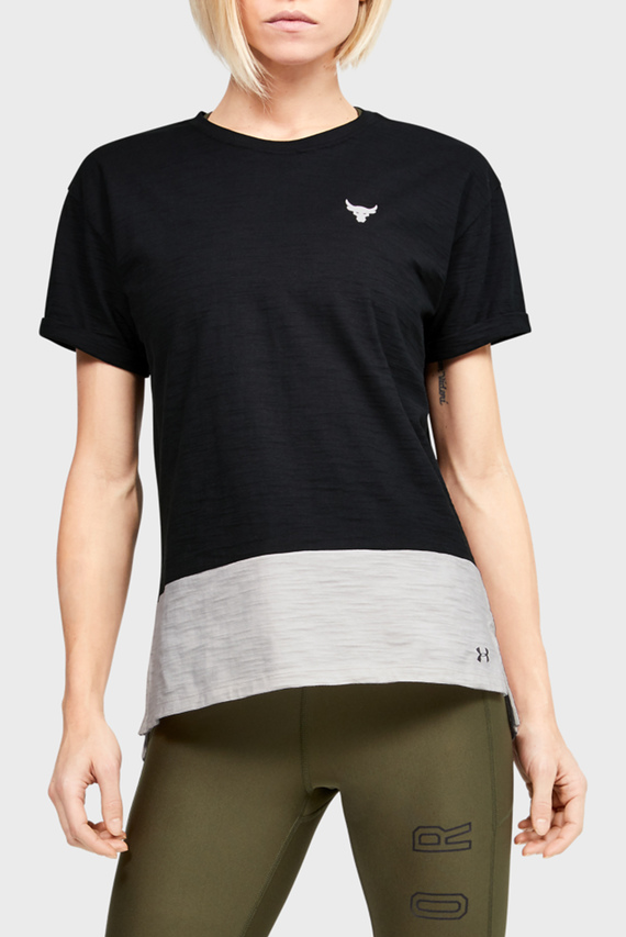 Женская черная футболка UA Project Rock Charged Cotton SS