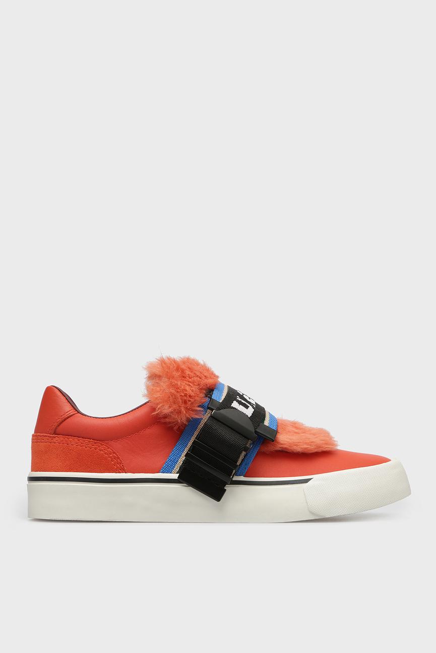 Женские оранжевые кожаные слипоны 356 S-FLIP LOW BUCKLE