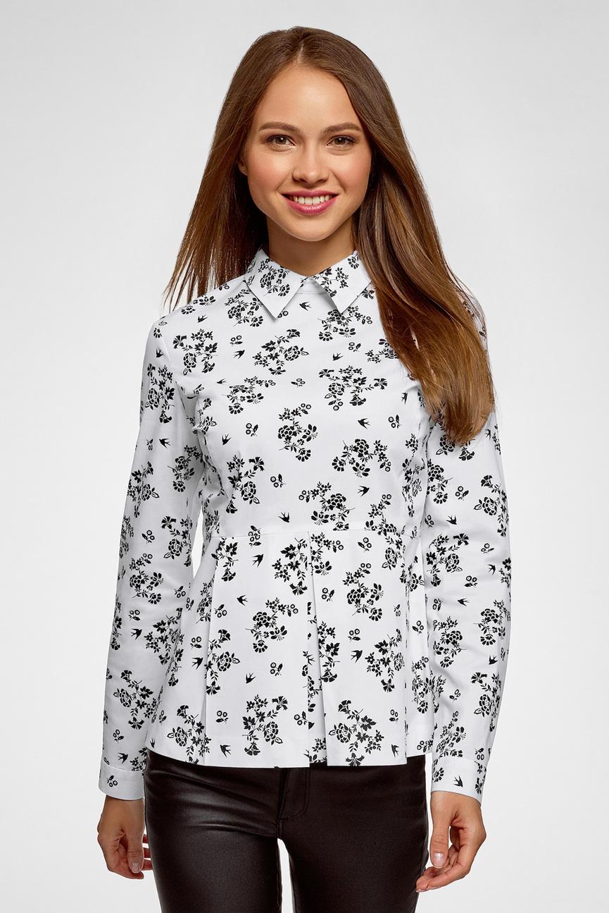 Женская белая блуза с принтом
