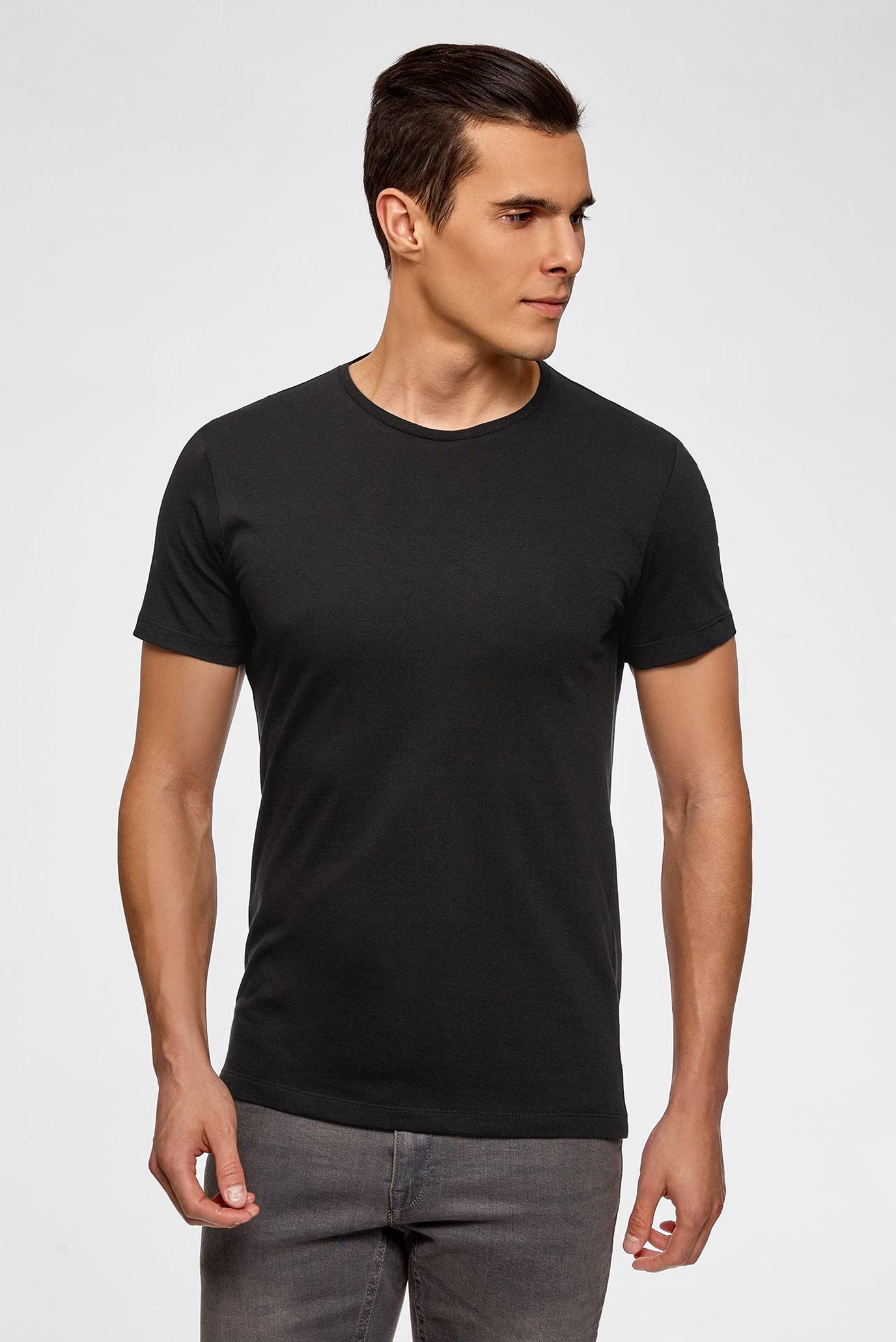 Мужская черная футболка (2 шт) Oodji