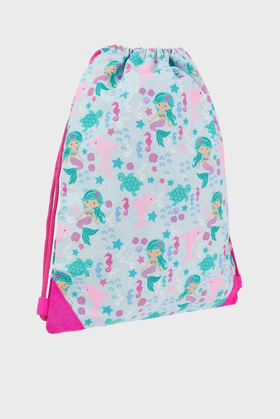 Детский голубой рюкзак ORGANIC MERMAID PRINT DRAWSTRING BAG
