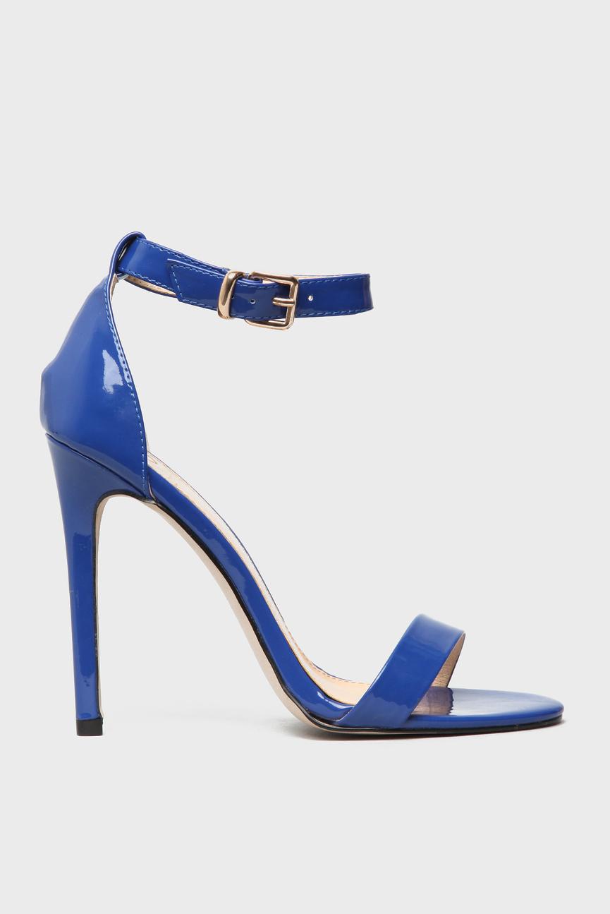 Женские голубые босоножки на ремешке