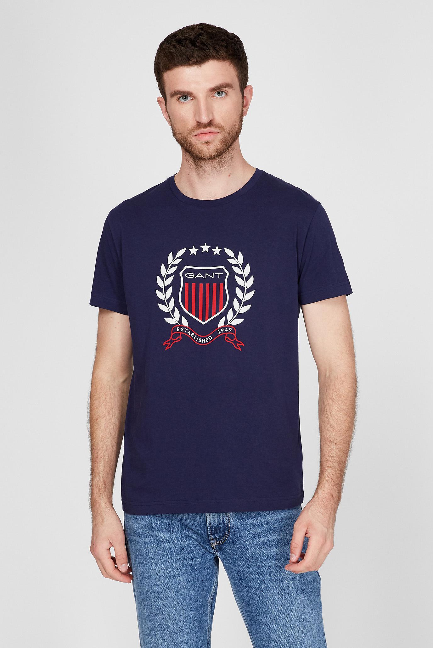 Мужская темно-синяя футболка GANT CREST 1