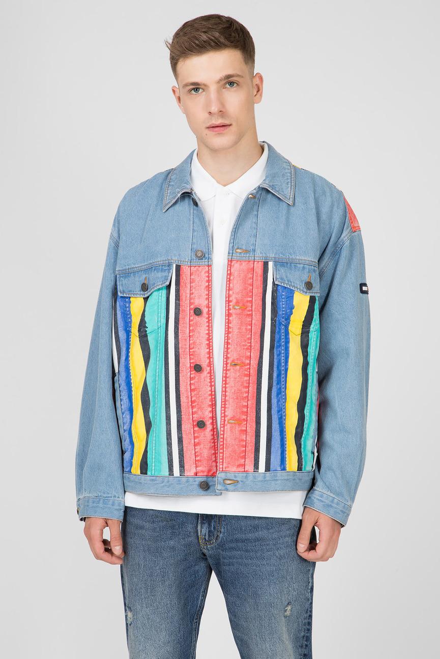 Мужская голубая джинсовая куртка TJM STRIPE