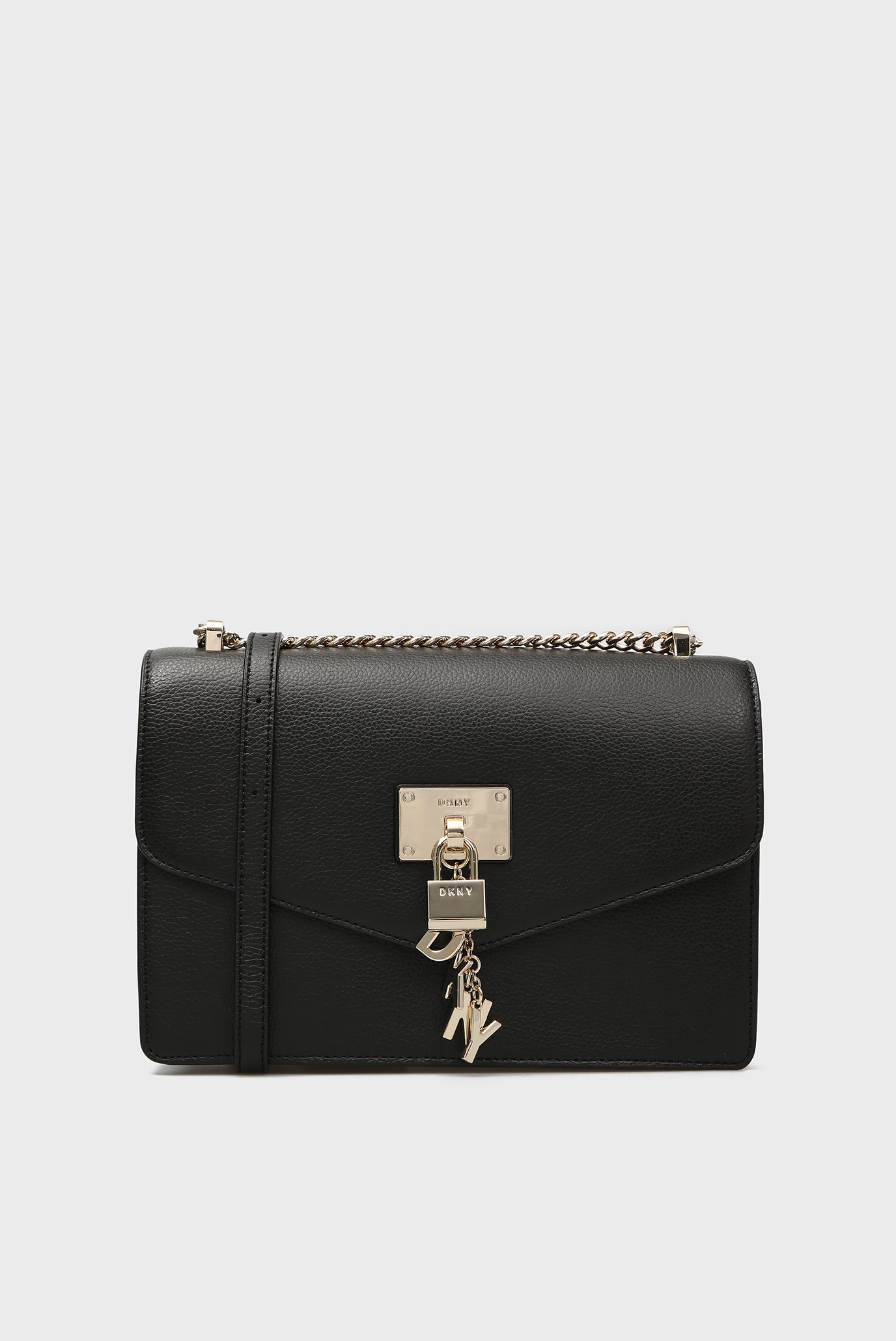 Купить Женская черная кожаная сумка через плечо ELISSA-LG DKNY DKNY R813H281 – Киев, Украина. Цены в интернет магазине MD Fashion