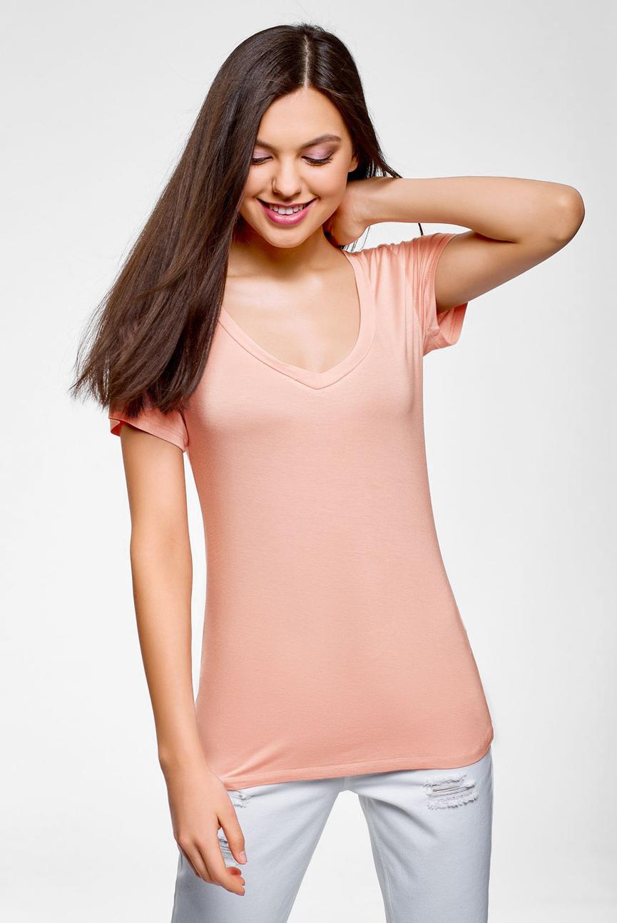 Женская розовая футболка