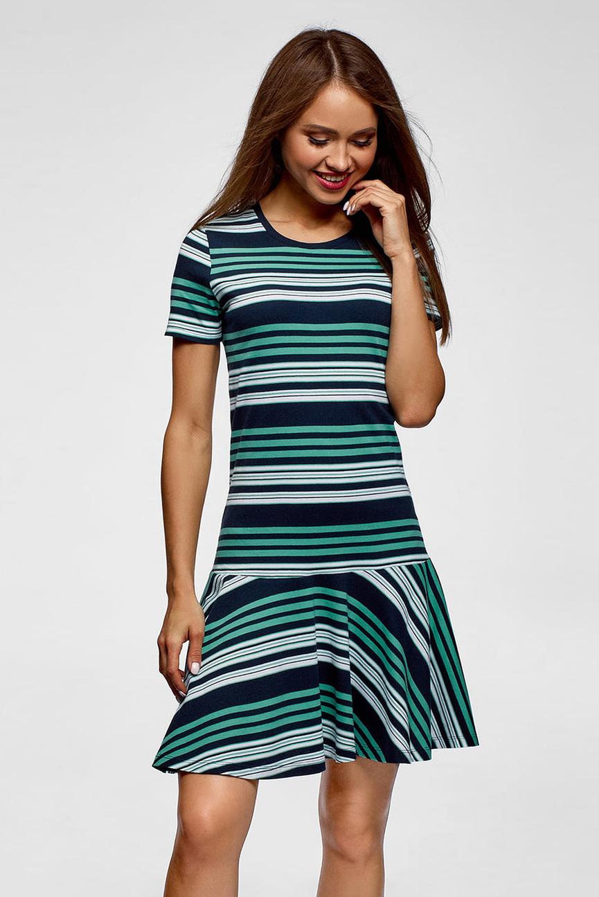 Женское темно-синее платье в полоску