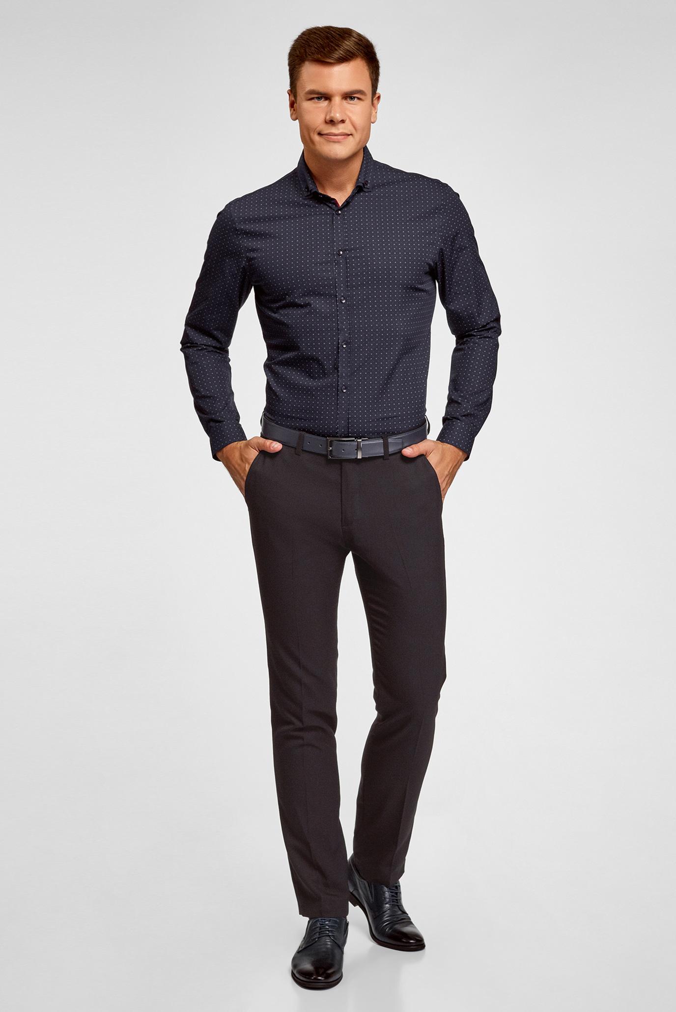 Мужская темно-синяя рубашка Oodji