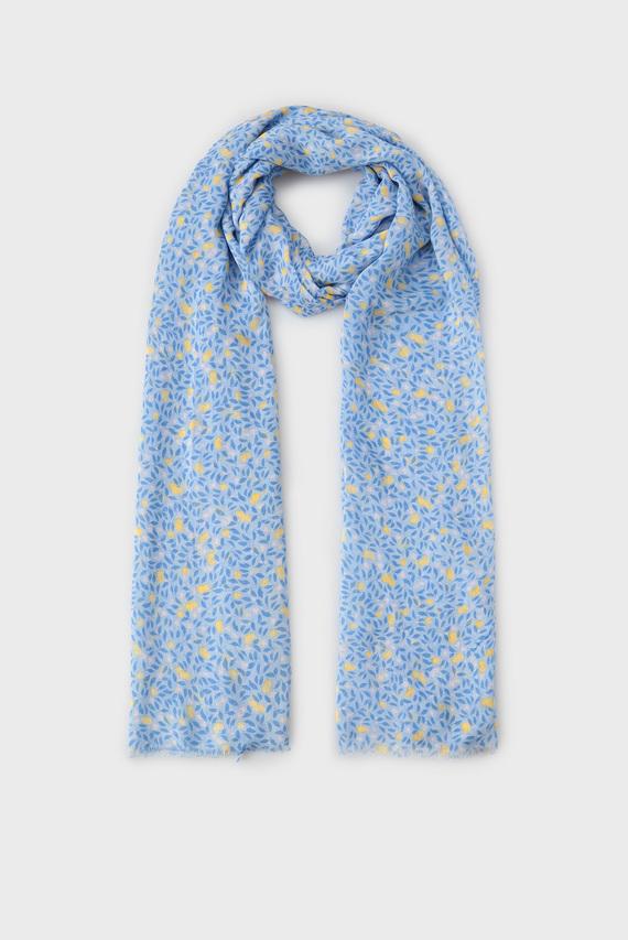 Женский голубой шарф с узором LEMONADE