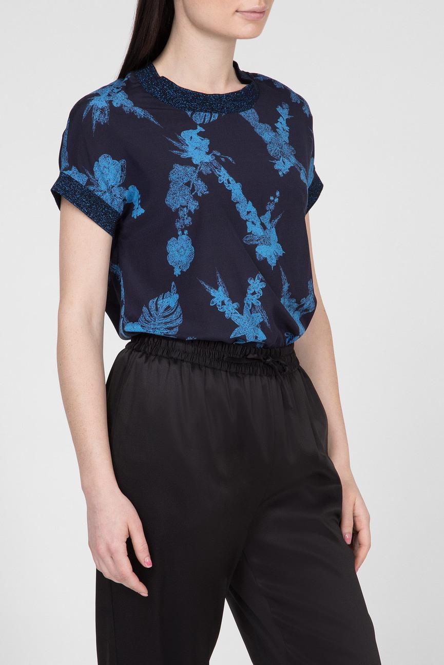 Женский темно-синий шелковый топ