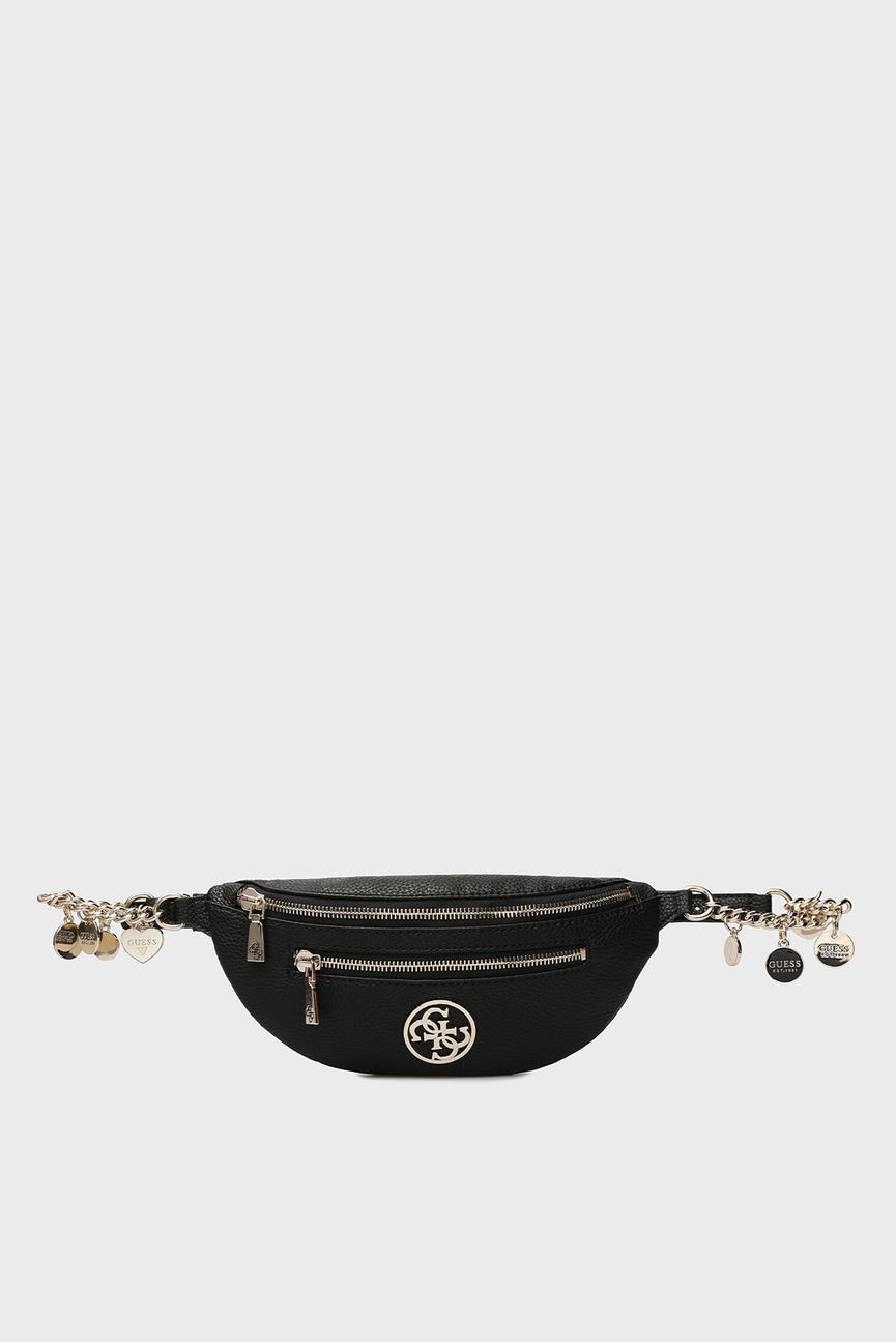 Женская черная поясная сумка DETAIL