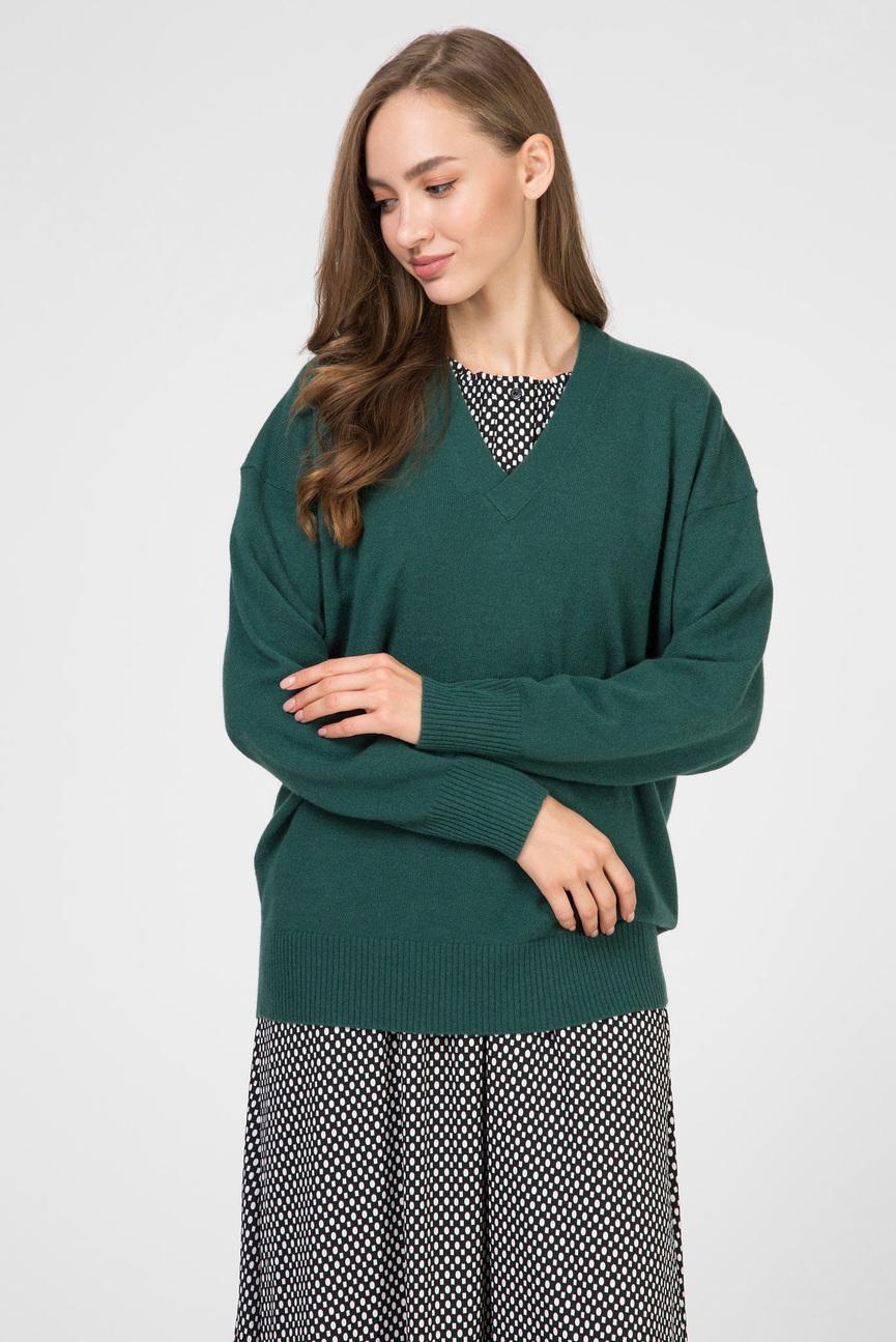 Женский зеленый кашемировый пуловер