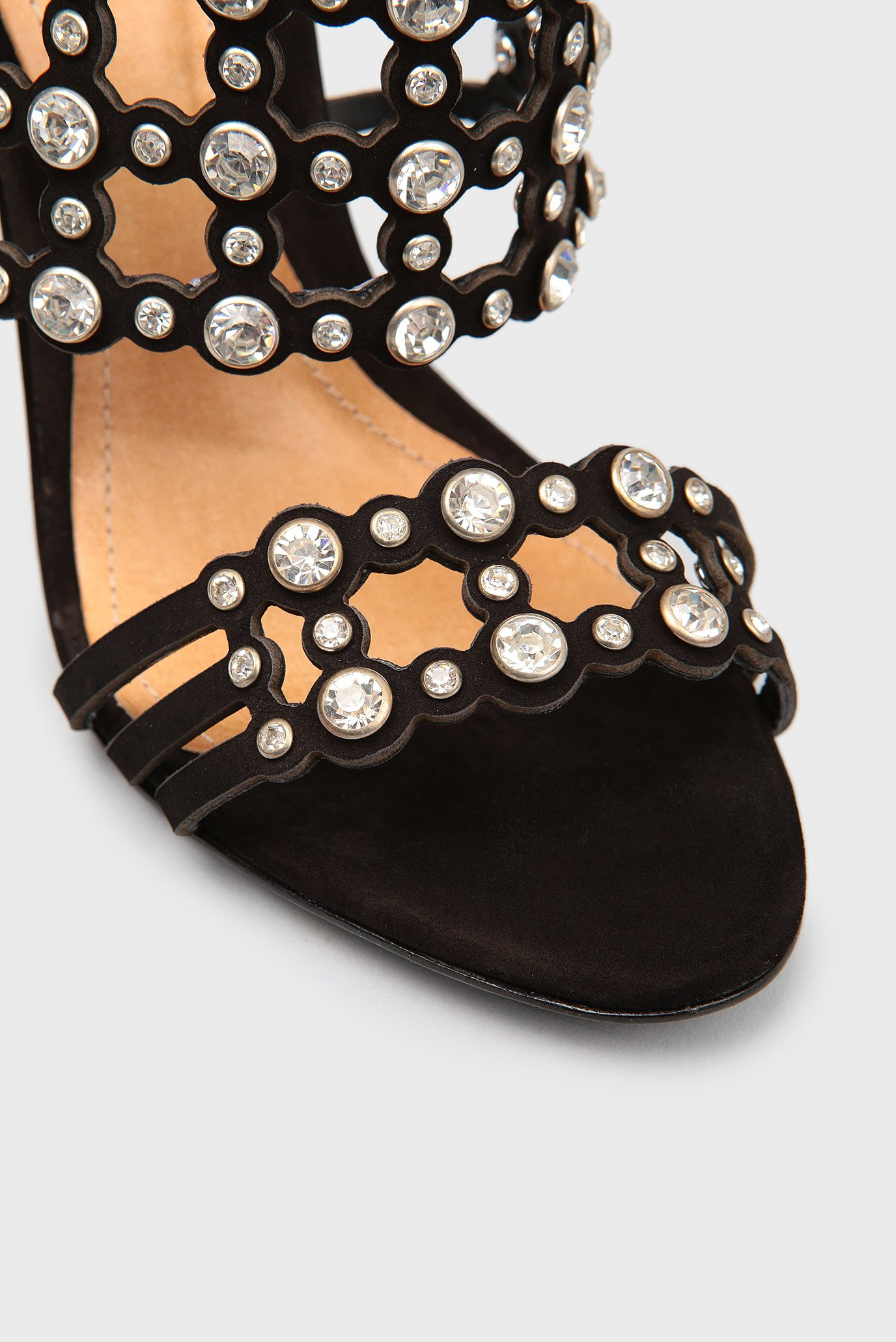 Купить Женские черные кожаные босоножки с кристаллами Schutz  Schutz  S0138712390001 – Киев, Украина. Цены в интернет магазине MD Fashion