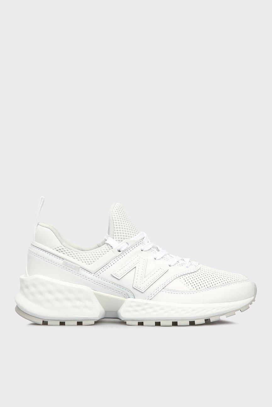 Женские белые кожаные кроссовки 574S