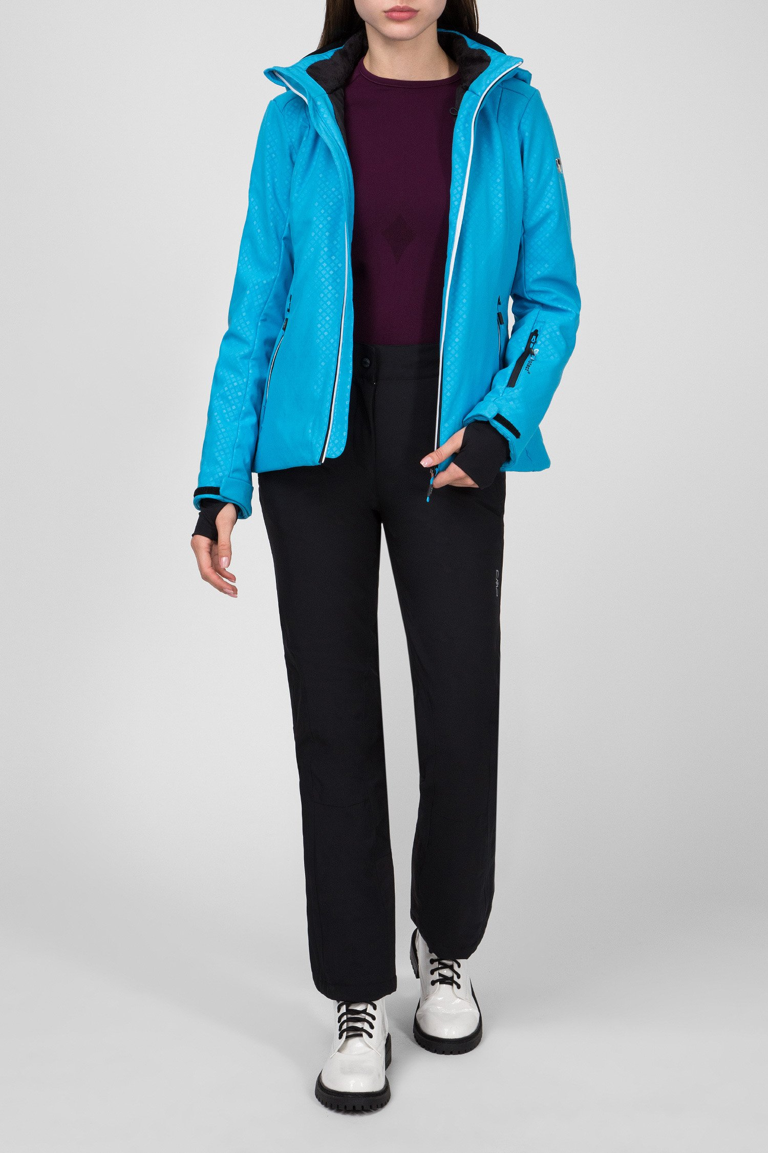 Женская голубая пуховая лыжная куртка CMP