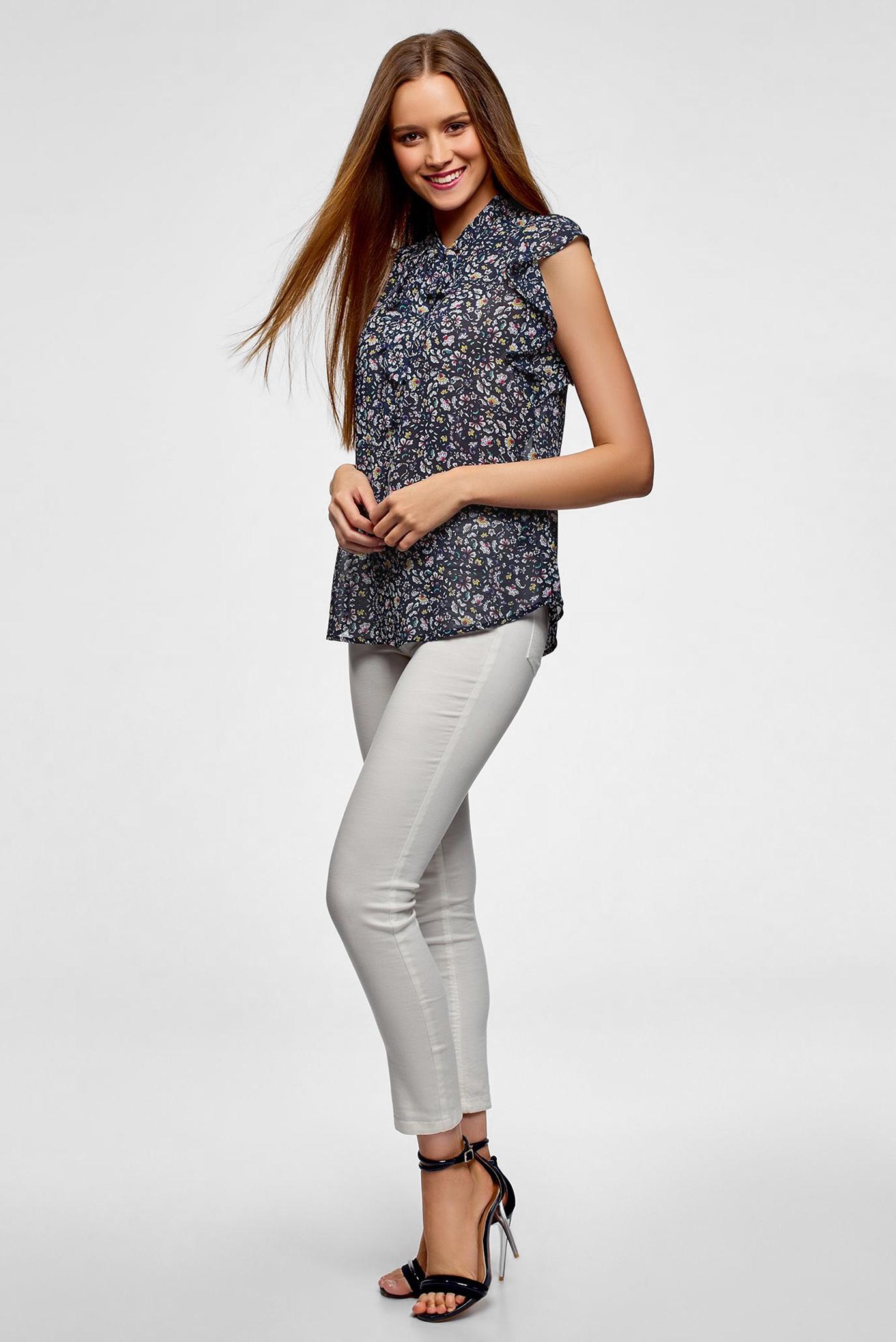 Купить Женская темно-синяя блуза с принтом Oodji Oodji 11411189/17358/7919F – Киев, Украина. Цены в интернет магазине MD Fashion