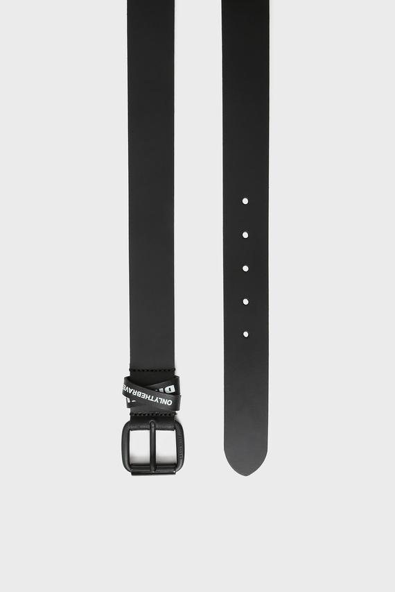 Мужской черный кожаный ремень B-CROS