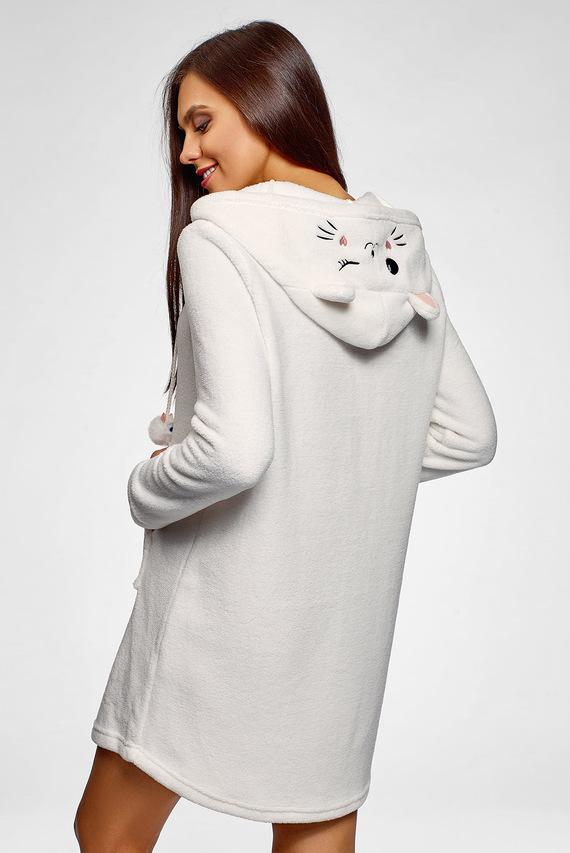 Женская белое платье-худи