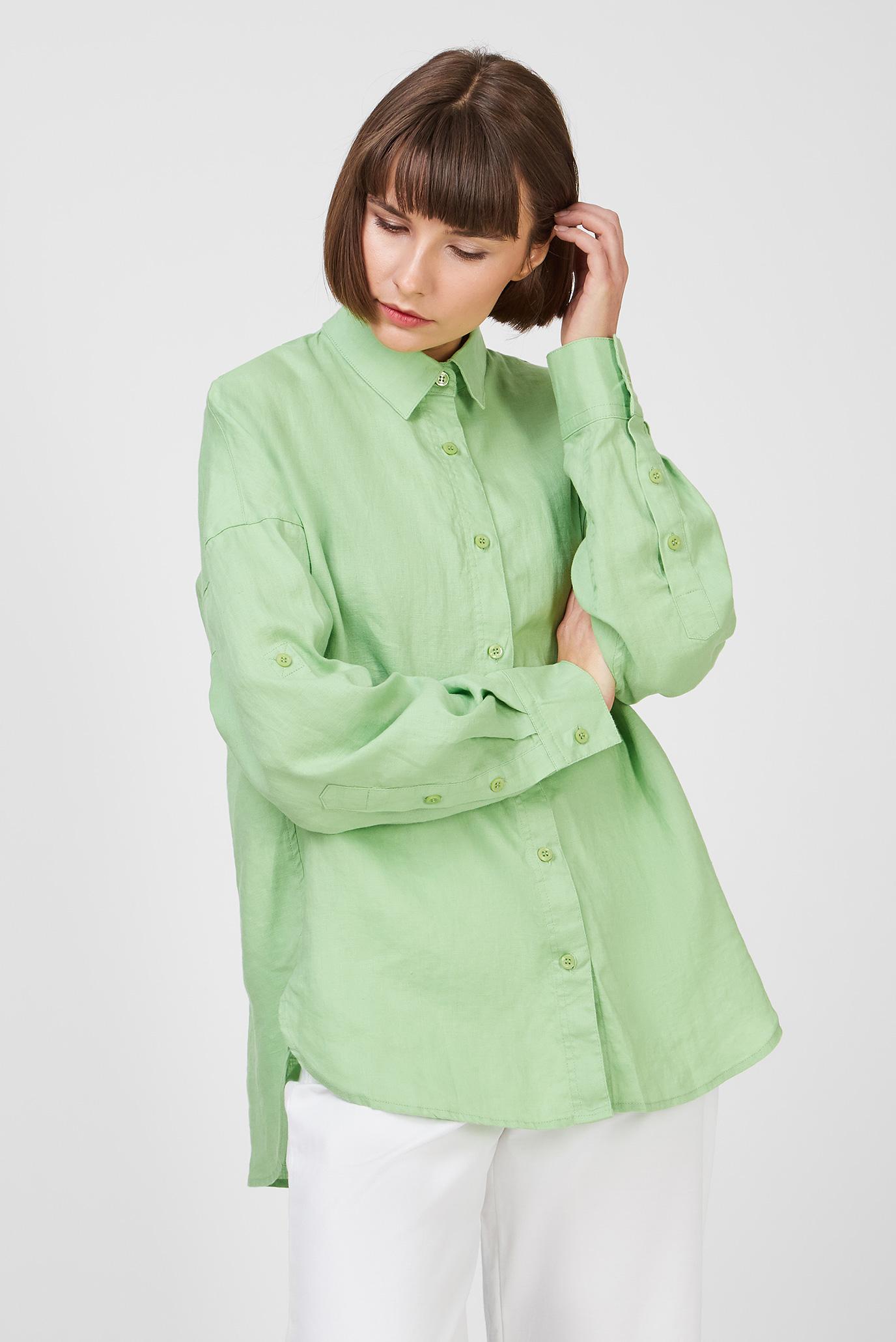 Женская зеленая льняная рубашка 1