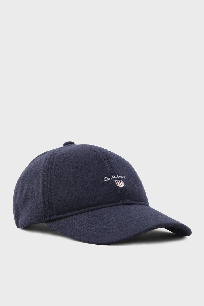 Мужская темно-синяя шерстяная  кепка