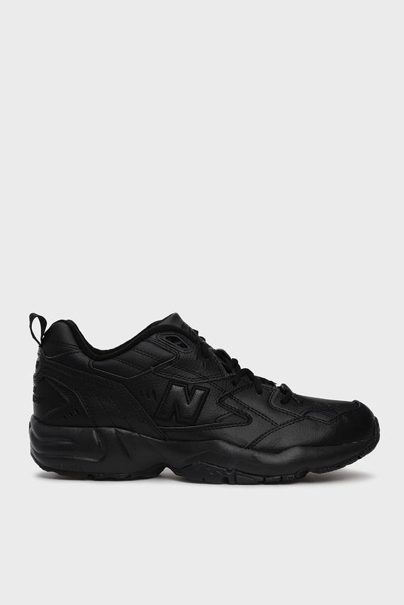 Мужские черные кожанные кроссовки 608
