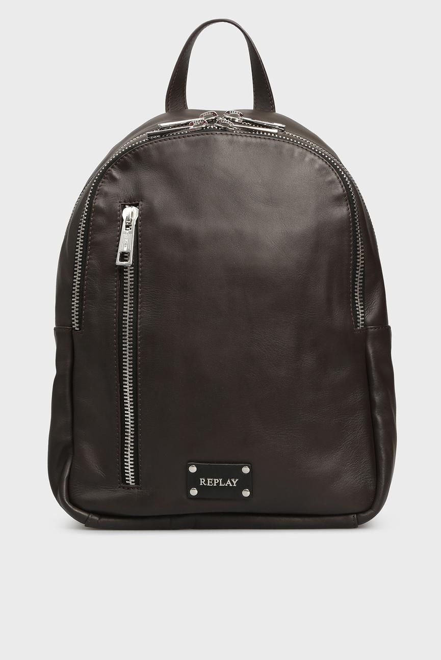 Мужской коричневый кожаный рюкзак