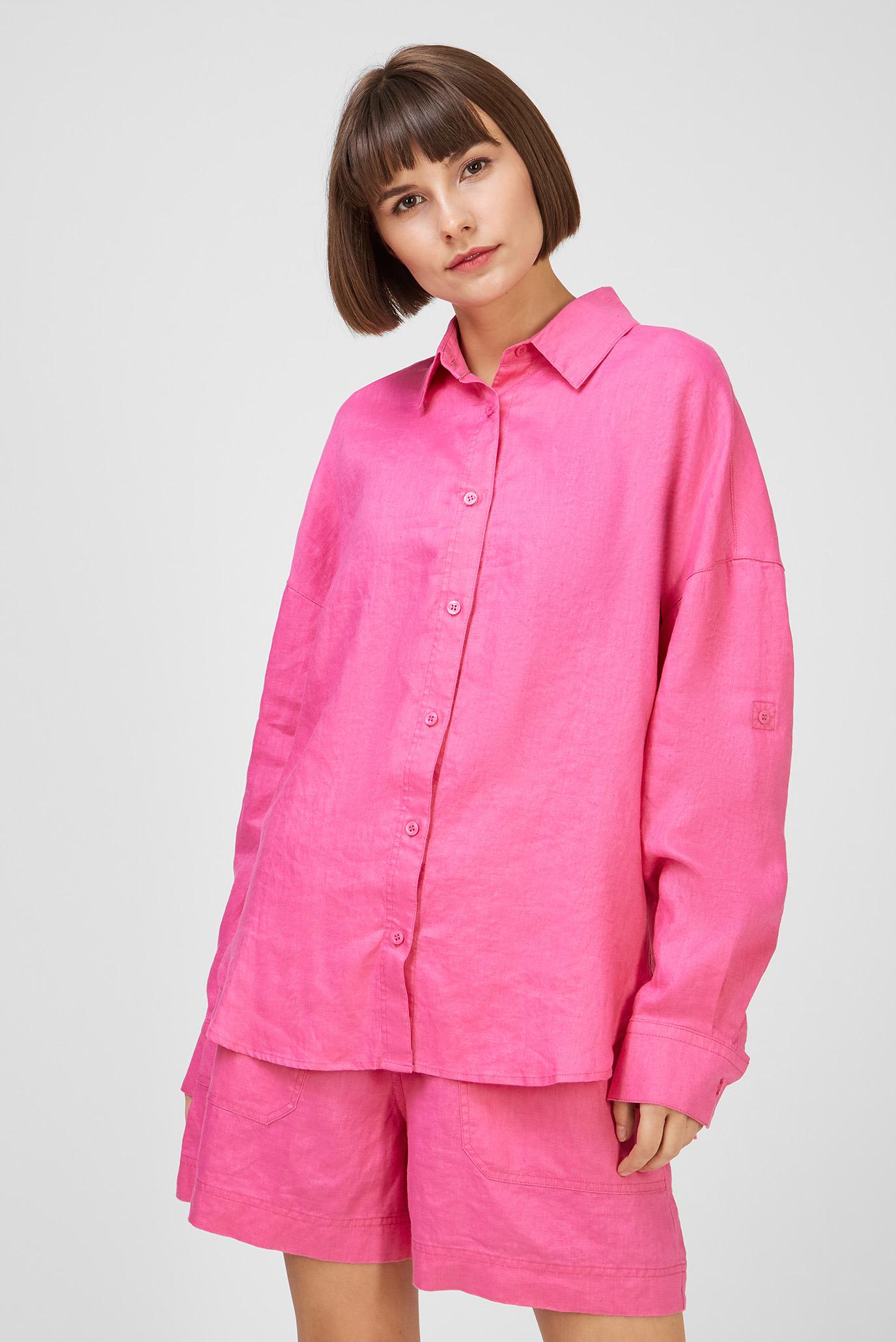 Женская розовая льняная рубашка 1