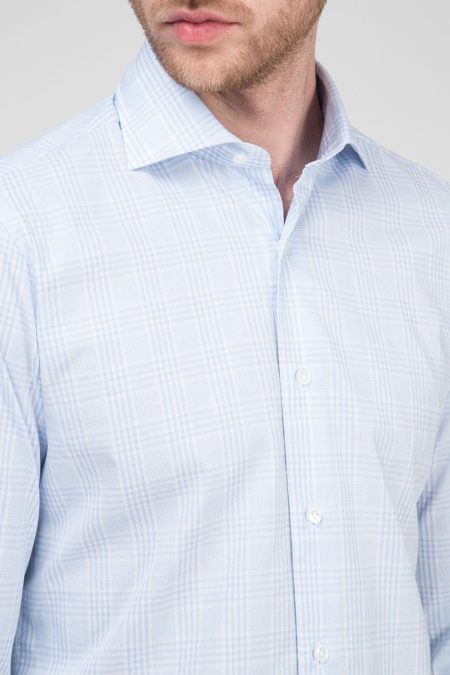 Мужская голубая рубашка в клетку Barba Napoli