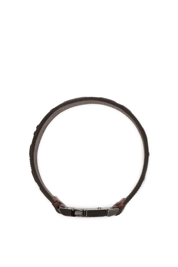 Мужской коричневый кожаный браслет