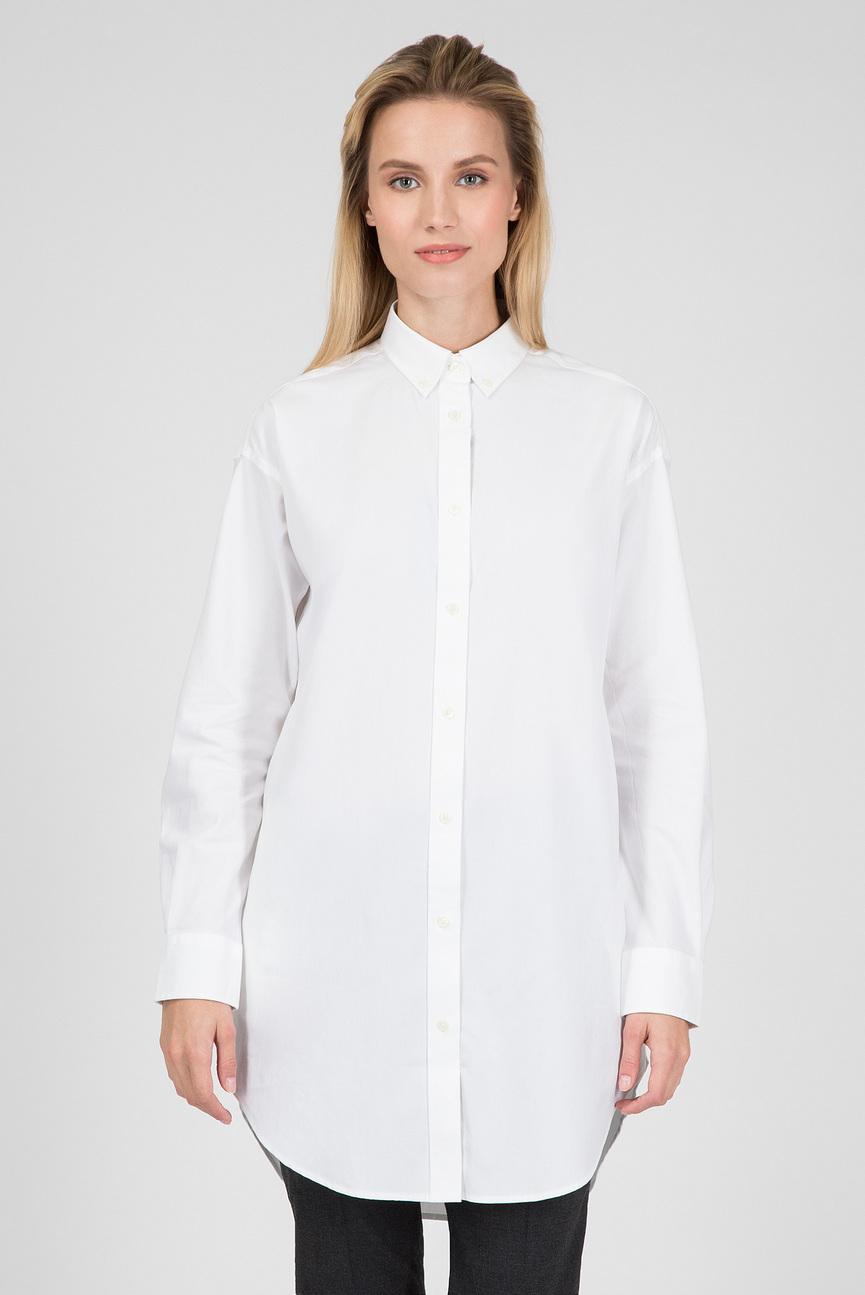 Женская белая удлиненная рубашка