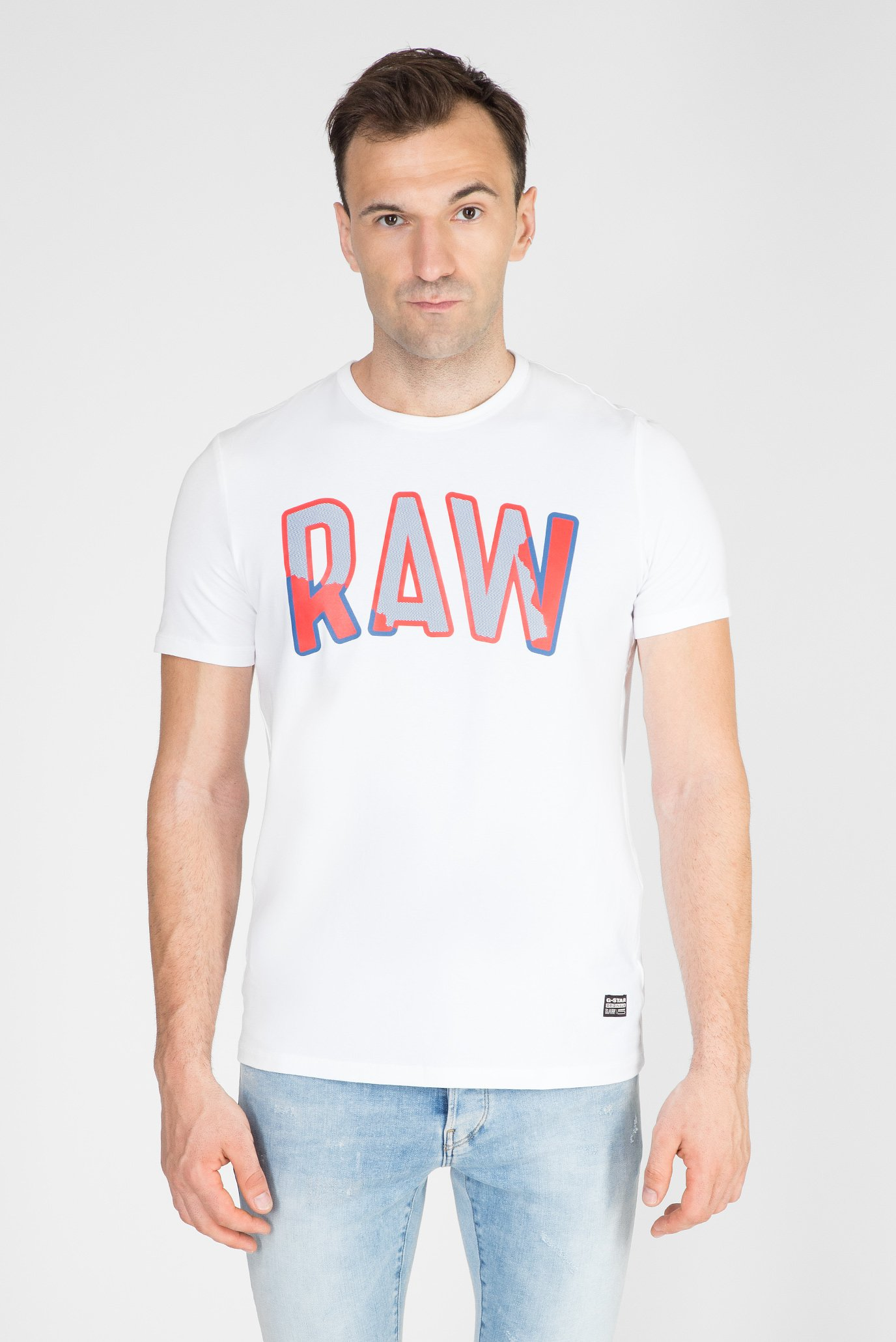 Мужская белая футболка с принтом Multi Layer RAW G-Star RAW