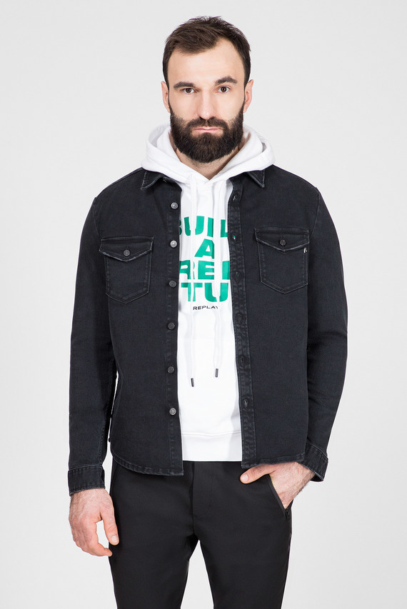 Мужская черная джинсовая рубашка